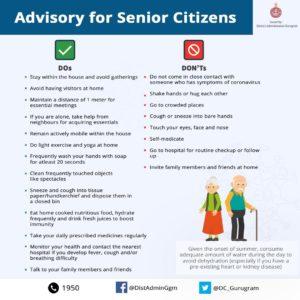 The District Administration Gurugram issues advisory for senior citizens